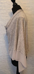 Grey Lightweight Poncho with Chiffon Edge