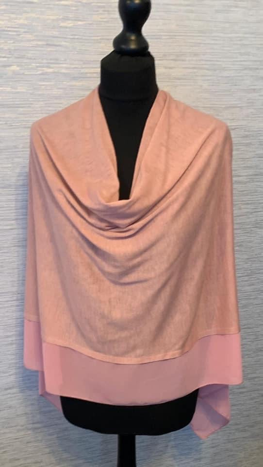 Rose Pink Lightweight Poncho with Chiffon Edge