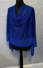 Load image into Gallery viewer, Cobalt Blue Lightweight Poncho with Chiffon Edge