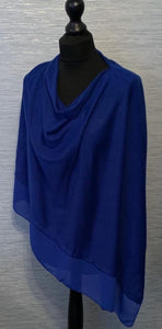 Cobalt Blue Lightweight Poncho with Chiffon Edge