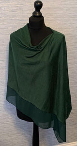 Emerald Green Lightweight Poncho with Chiffon Edge
