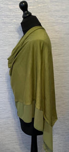 Forest Green Lightweight Poncho with Chiffon Edge
