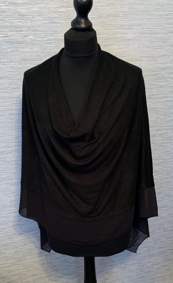 Black Lightweight Poncho with Chiffon Edge