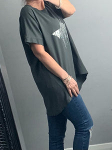Charcoal oversized t-shirt with sequin drop star detail