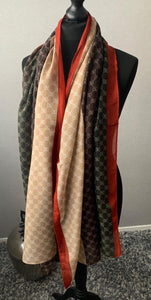 Brown, tan & burnt orange detailed scarf