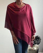 Load image into Gallery viewer, Plum Red Lightweight Poncho with Chiffon Edge