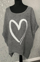 Load image into Gallery viewer, Charcoal oversized top with heart and side zip detail