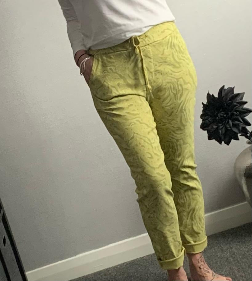 Lime animal print magic trousers