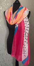 Load image into Gallery viewer, Pink, orange & blue spotty scarf