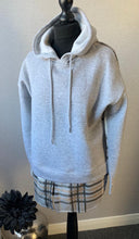 Load image into Gallery viewer, Grey checked hooded sweatshirt