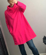 Load image into Gallery viewer, Pink long cowl neck zip detailed hoodie