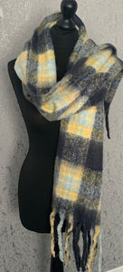 Navy & yellow fluffy scarf with tassels