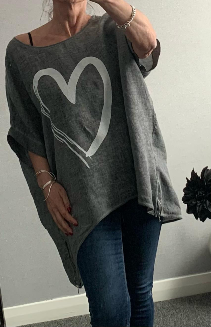 Charcoal oversized top with heart and side zip detail