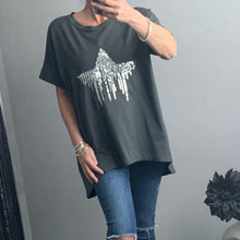 Load image into Gallery viewer, Charcoal oversized t-shirt with sequin drop star detail