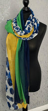 Load image into Gallery viewer, Green, blue & yellow animal print scarf