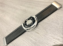 Load image into Gallery viewer, Black leather bracelet with silver and rhinestone detail