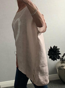 Light pink oversized top with heart and side zip detail