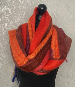 Red & orange rainbow fluffy scarf with tassels