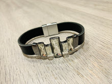 Load image into Gallery viewer, Black leather bracelet with rhinestone detail