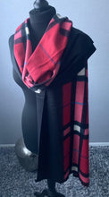 Load image into Gallery viewer, Red tartan print cashmere mix scarf