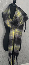 Load image into Gallery viewer, Black & yellow fluffy scarf with tassels