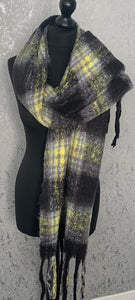 Black & yellow fluffy scarf with tassels