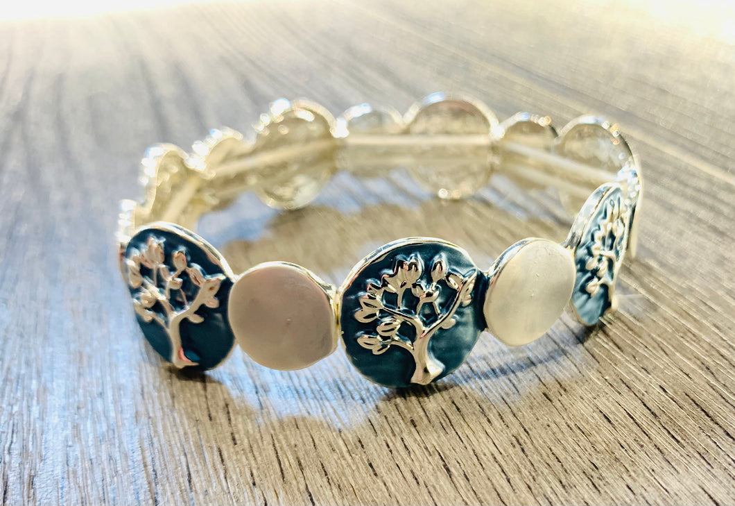 "Blue ""Tree of Life"" elasticated bracelet"