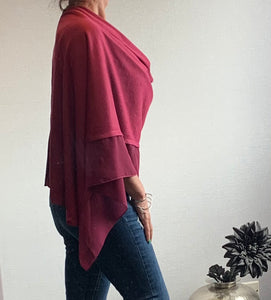Plum Red Lightweight Poncho with Chiffon Edge