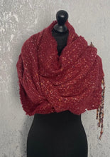 Load image into Gallery viewer, Red fluffy scarf with multicoloured tassels