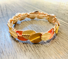 Load image into Gallery viewer, Orange tone elasticated bracelet with rhinestone detail