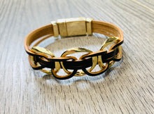 Load image into Gallery viewer, Black Leather Bracelet with gold circle detail
