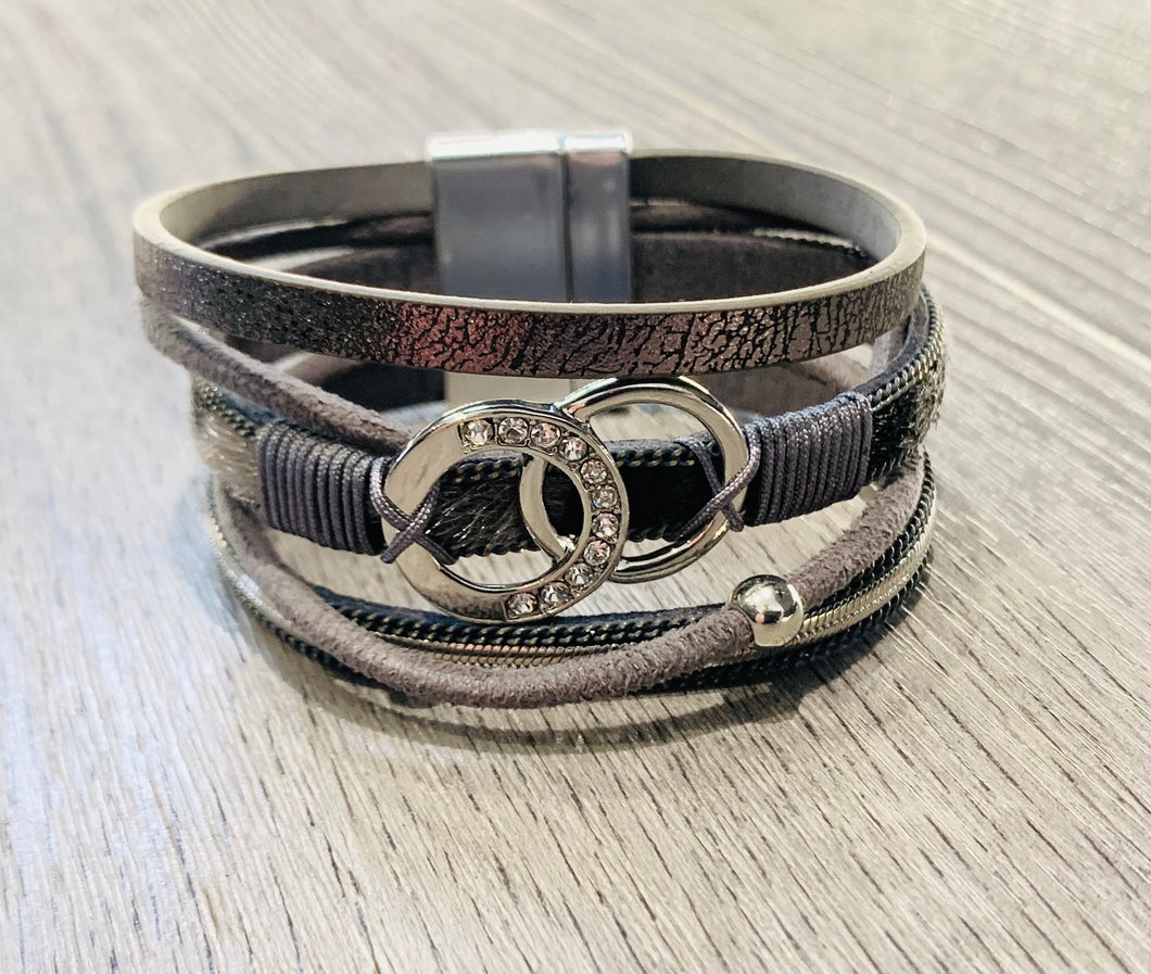Grey Leather Bracelet with silver detail