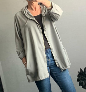 Grey zip up jacket with star detail
