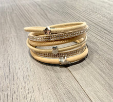 Load image into Gallery viewer, Beige wrap around bracelet with star detail
