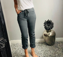 "Load image into Gallery viewer, Plain charcoal ""magic"" trousers"