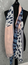 Load image into Gallery viewer, Pink, blue & grey animal print scarf