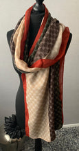 Load image into Gallery viewer, Brown, tan & burnt orange detailed scarf
