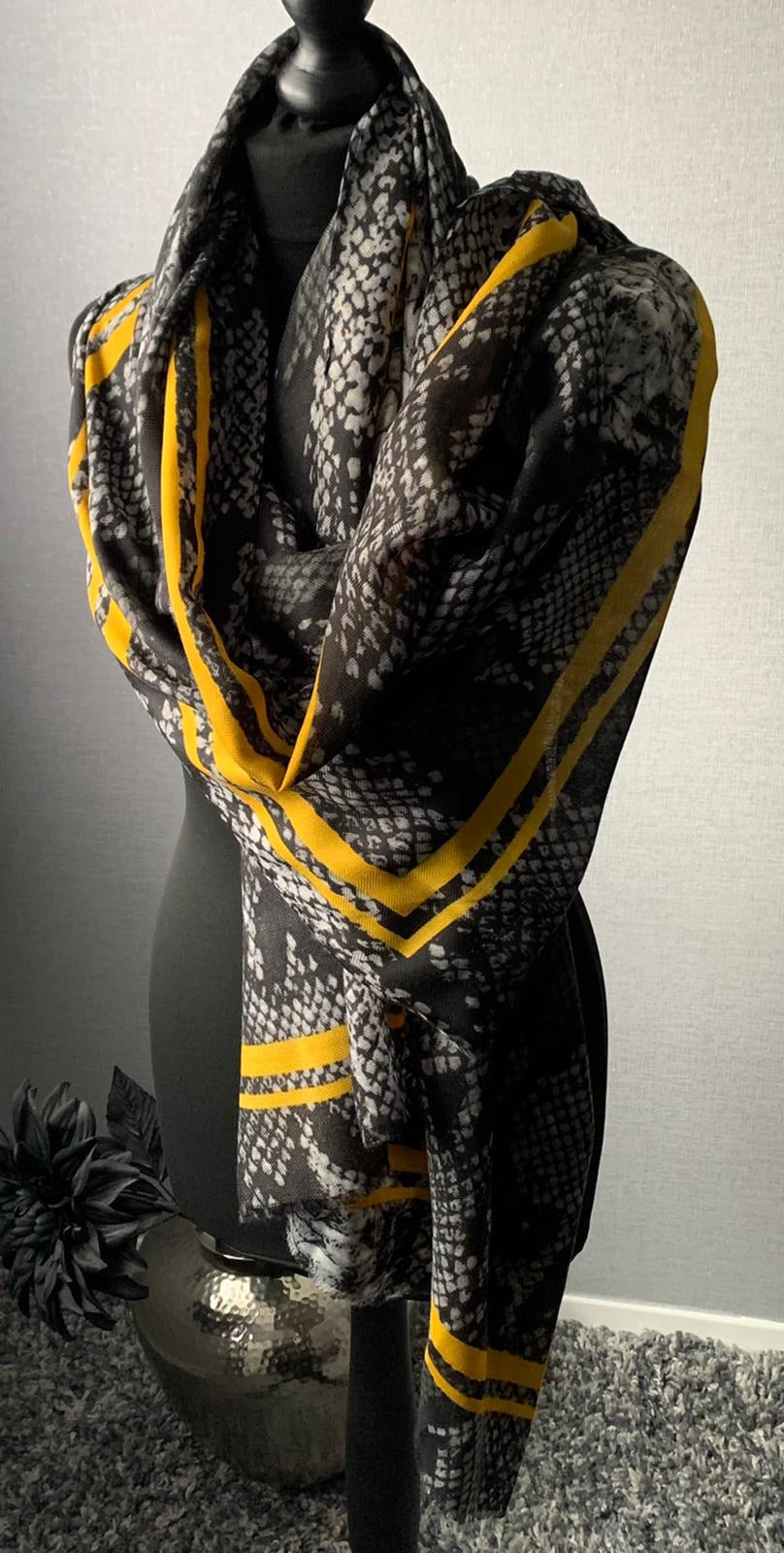 Animal print scarf with yellow boarder