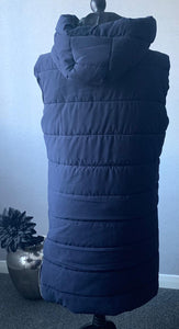 Navy padded bodywarmer with hood and side zips