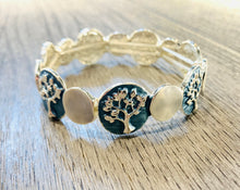 "Load image into Gallery viewer, Blue ""Tree of Life"" elasticated bracelet"