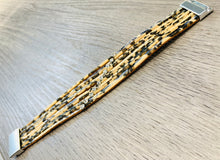 Load image into Gallery viewer, Beige leopard print bracelet with rhinestone detail.
