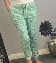 "Load image into Gallery viewer, Green snake print ""magic"" trousers"