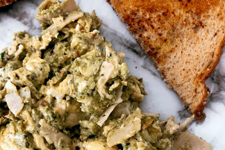 Breakfast is served! Green eggs & turkey scramble!