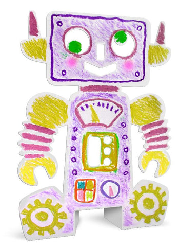 Image of Roylco R10215 Stand-Up Robots example of artwork decorated pink and yellow with gears
