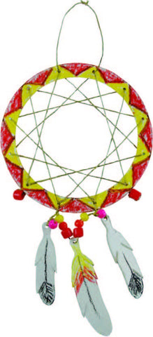 Image of Roylco R42280 Dream Catcher example of decorated red and yellow