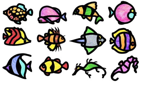 Tropical Fish Stained Glass Frames