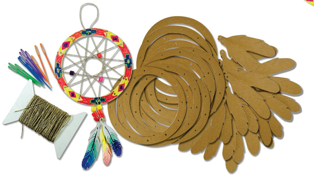 Image of Roylco R42280 Dream Catcher components with example of artwork