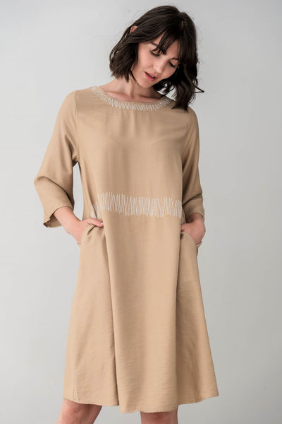 Cotton Blend Anastasia Midi Dress