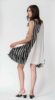 Feather Stripe Sleeveless Midi Dress