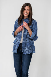 European Linen Jacket with Floral Fringe